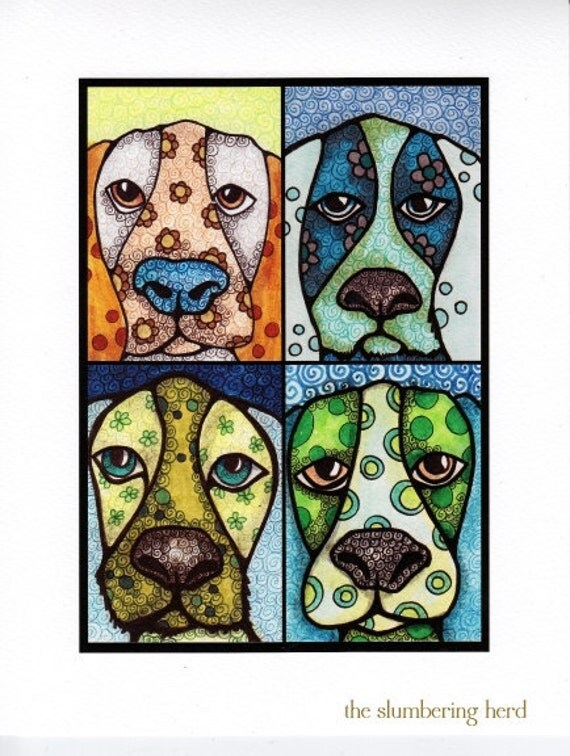 Giclee Dog Print from Original Illustrations, Hound Puppies