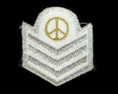 Vintage Peace Army Stripes Silver Sew on Patch