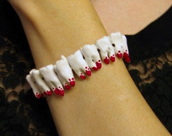 Human Teeth Bracelet - Bloody - macabre , Quay Brothers, death glam,