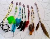 1 Feather & Bead Hair Clip - 6 available