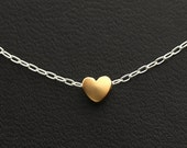 Heart Necklace, Gold Heart Necklace, Sterling Silver Chain