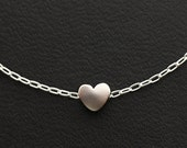 Heart Necklace, Matte Rhodium Plated Heart Necklace, Sterling Silver Chain