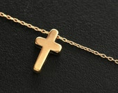 Cross Necklace, Small Classic Gold Cross Necklace, 14k Gold Filled Chain