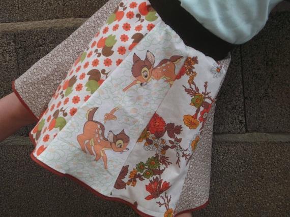 Skirt  Summer Bambis Dear 70s Fabrics Sz 5-6 Years (EU 110/116 ) Unikate