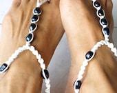 Barefoot Sandal, Black & White, Black Pearl, Macrame Anklet,1 Pair - M0MITA