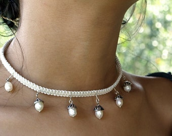 Choker Necklace, White Pearl Necklace, Pearl Choker, Pearl Wedding Necklace