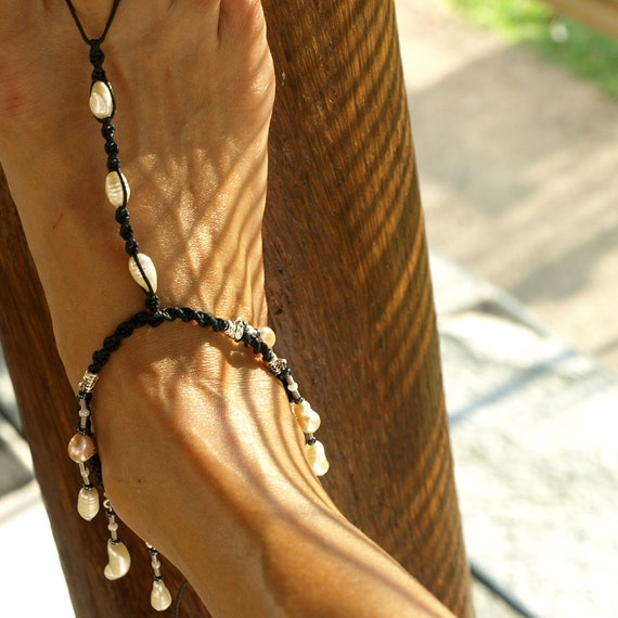 Black Mystic, Barefoot Sandals, Pearl Anklet, India Style Barefoot Sandal, 1 Pair