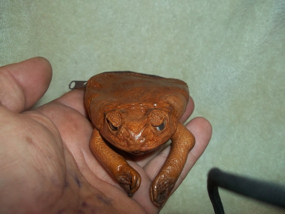 Real animal tanned leather  Frog Coin Purse part