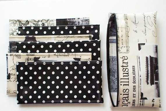 Zippered Cash Envelope System Budget Wallet with 6 fabric envelopes in laminated cotton // black, white, sepia, dots