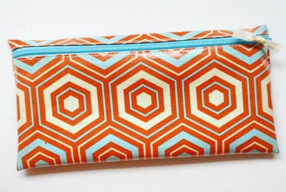 Cash envelope system budget wallet with 6 tabbed dividers // orange, aqua, cream hexagons