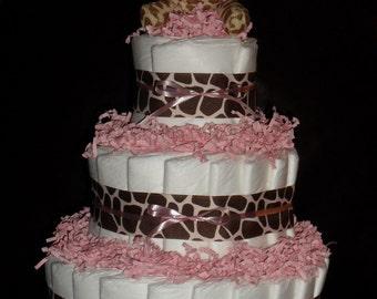 Pink and Giraffe Spots Diapercake