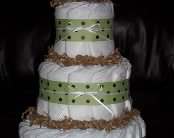 Green & Brown Diapercake with Rubber Duck
