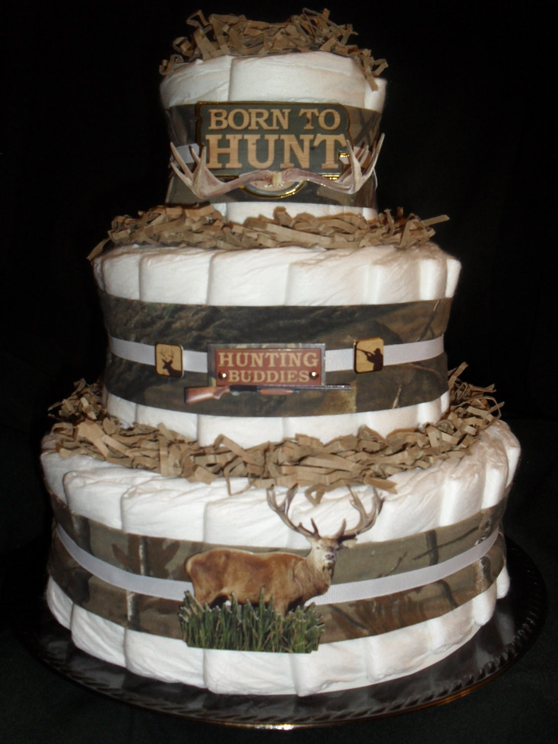 Hunting camo theme diapercake