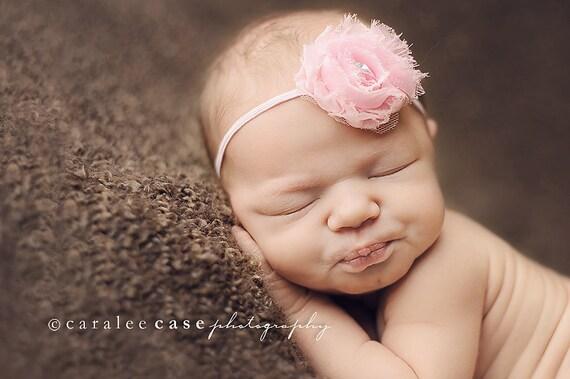 Mini Pink Shabby Baby Headband - Baby Girl Headbands - Baby Hair Accessories - Infant Headband. Newborn Headbands