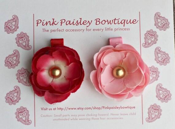 2 Pack Pink & Red Flower Clip Set - Alligator Clip Set - Spring Hair Clips - Easter Photos