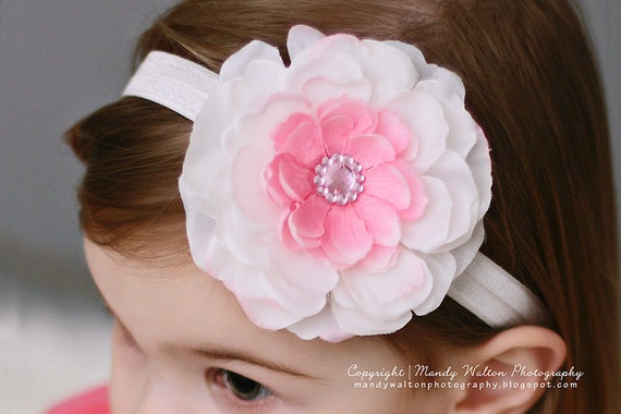 Easter Headband - Baby Headband - White Baby Hairbows. Pink Baby Headband. Baby Hair Accessories
