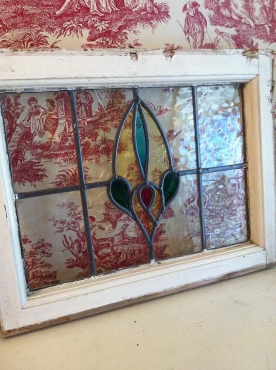 Leaded Stain Glass Window In Original Wood Frame Antique