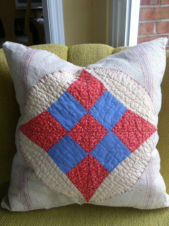 Quilt Feedsack   Pillow Quilted Vintage Fabric Rustic Farmhouse Handmade