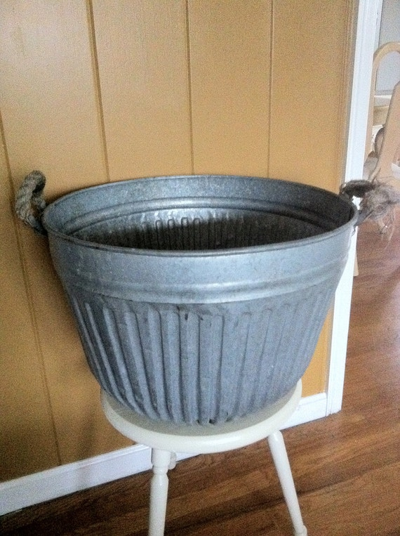 Galvanized Industrial Farm Tub with Riveted Bottom and Rope  Handles Southern Ohio Farm