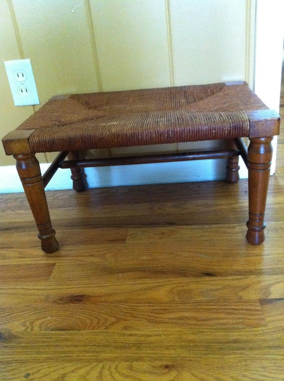 Foot Stool with Rush Seat very Sturdy Excellent Condition