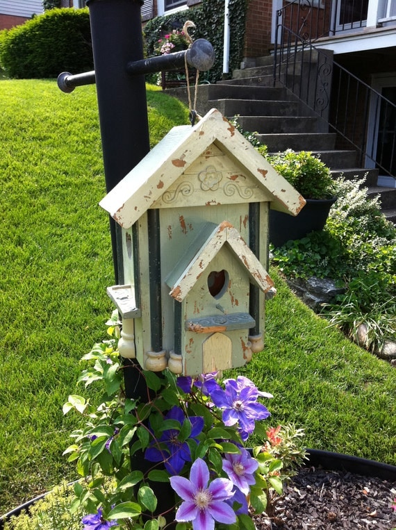 Birdhouse with Hearts and Wonderful Detail all Wood Chippy Paint and Painted with Blues Greens and Yellows