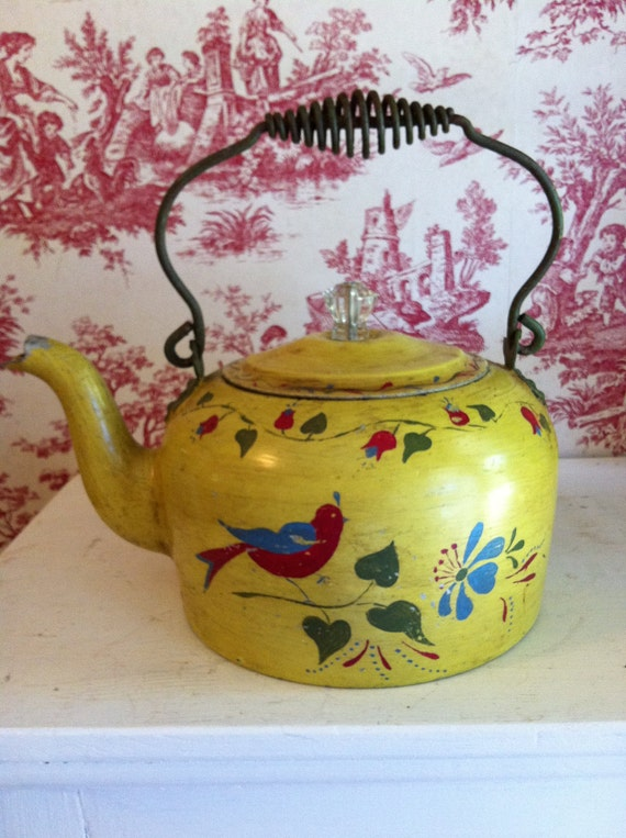 Tea Pot Hand Painted Vintage Yellows Blues Reds and Greens Bird with Flowers