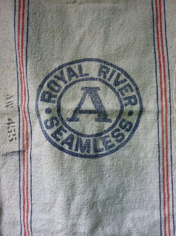 Feed Sack Heavy Canvas Stamped Royal River Seamless from Southern Ohio Farm