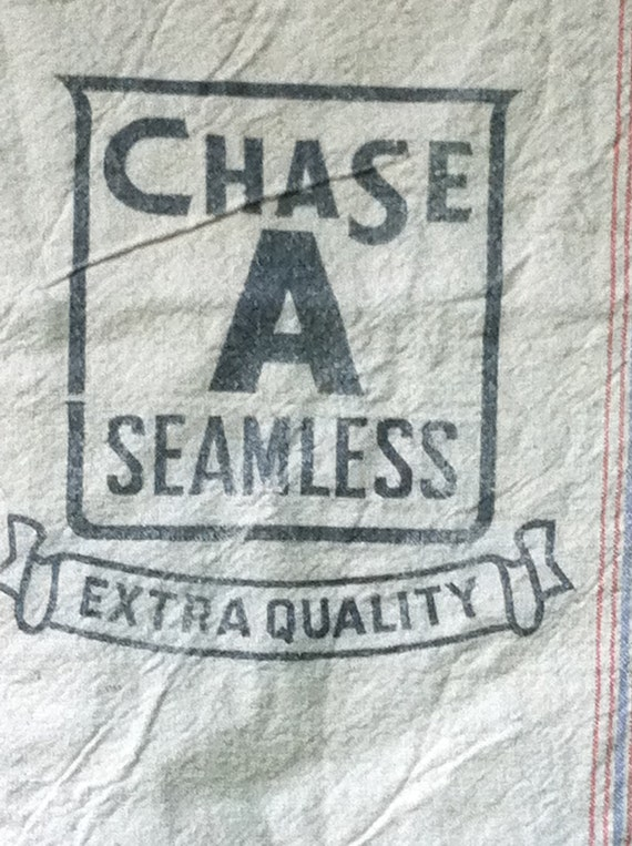 Feed Sack Heavy Canvas Logo Reads Chase A Seamless Extra Quality Red and Blue Strips