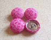 SHOP CLOSING SALE - Pink Vines Fabric Covered Buttons - 3/4 inch