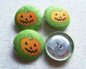 SHOP CLOSING SALE - Jack-o-Lantern Fabric Covered Buttons - 1-1/8 inch