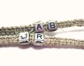 Couples Initials Hemp Bracelets Set of 2