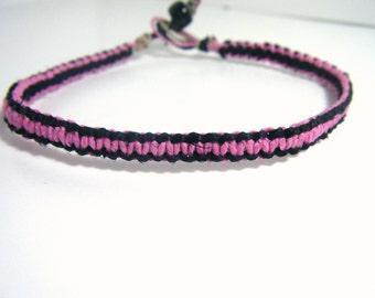 Ankle Bracelet, Personalized Jewelry, Hemp Anklet, Eco Friendly Bracelet, Eco Friendly Hemp, Gift for her, Pink and Black Hemp