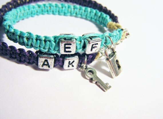 Lock Key Couples Bracelets Turquoise and Purple with initials