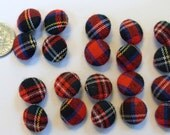 NEW UNUSED Vintage Plaid Tartan Fabric Covered Buttons, 10 Ten Pairs, Red, Blue. Black +