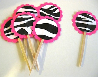 Cupcake Toppers Zebra Hot Pink Scalloped