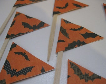 Halloween Cupcake Toppers Bats- READY TO SHIP