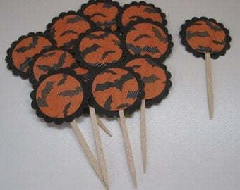 Halloween Cupcake Toppers Bats-READY TO SHIP
