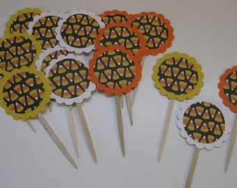 Halloween Cupcake Toppers Candy Corn- READY TO SHIP