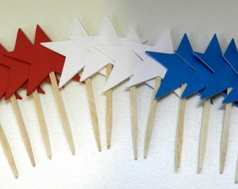 Fourth of July Cupcake Toppers Red White and Blue Stars