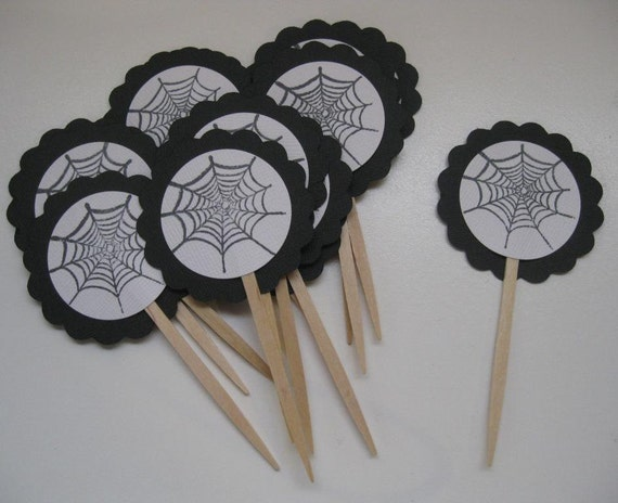 Halloween Cupcake Toppers- Spider Web- READY TO SHIP