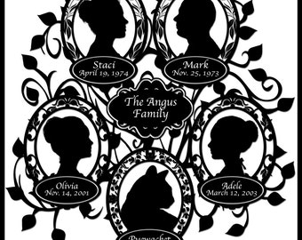 Family Tree with 5 Silhouettes with Pet Cat