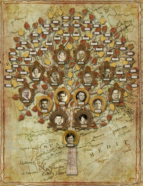 Family Tree - Multi Generation Tree with 15 Photos and 48 Labels and a Custom Background- Gold
