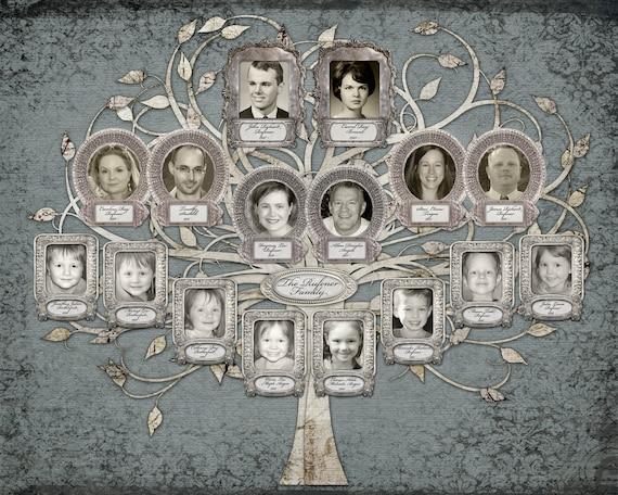 Family Tree - Custom with 16 Photos - Blue Grey Background