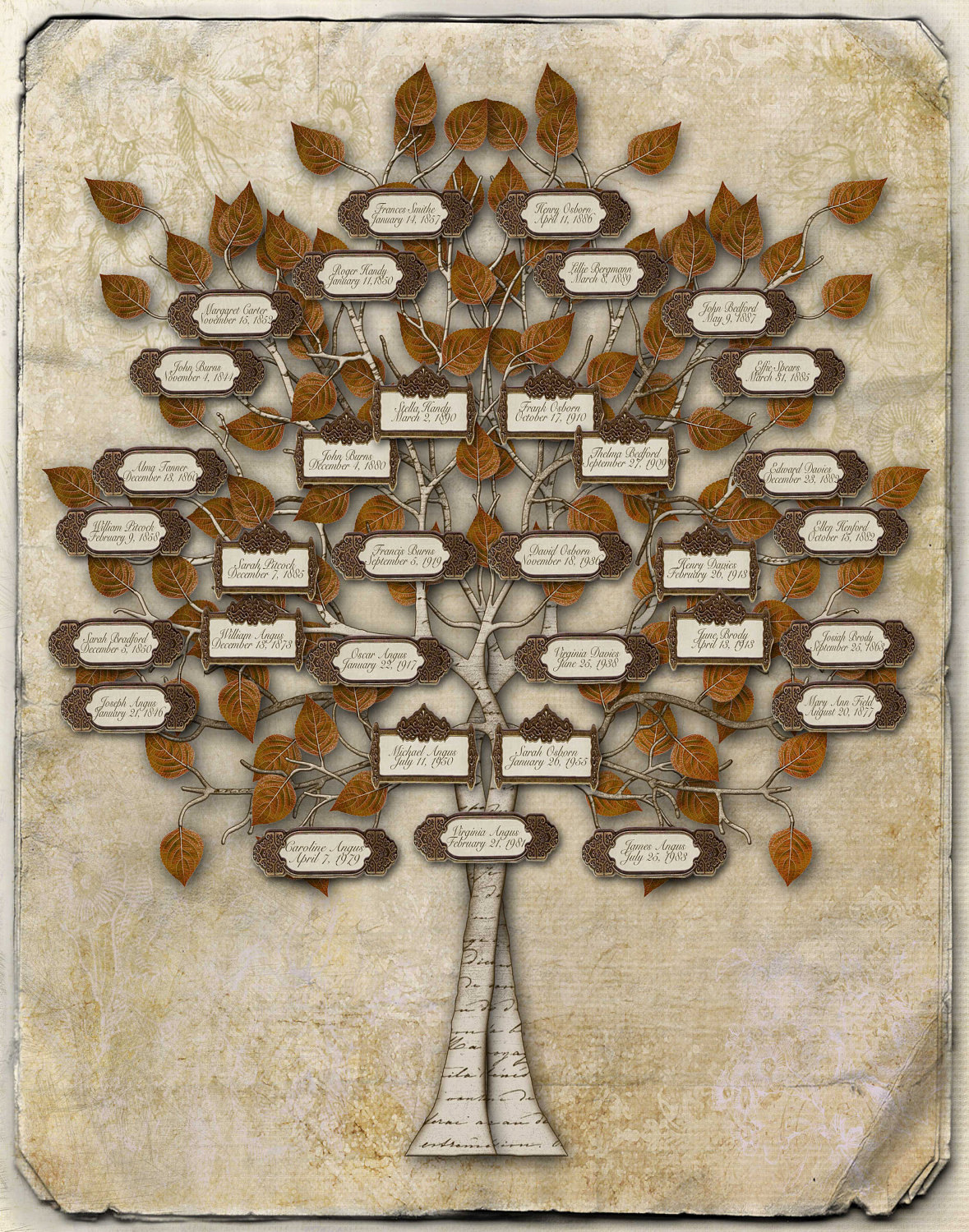 Foyer Layout Generator : Family tree design individuals with labels