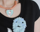 Blue Fluffy Ghost Freind Two Way Hairclip Broach