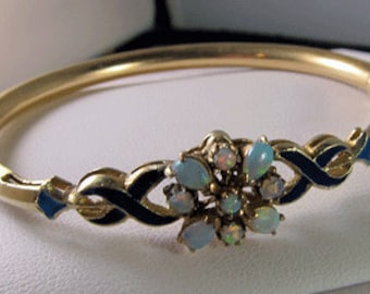 Exquisite Antique Victorian 14k Opal Enamel Bracelet - 17.4 Grams