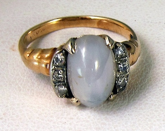 Beautiful Antique 10k White Star Sapphire Diamond Ring - Stunning