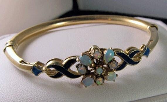 Exquisite Antique Victorian 14k Opal Enamel Bracelet - 17.4 Grams