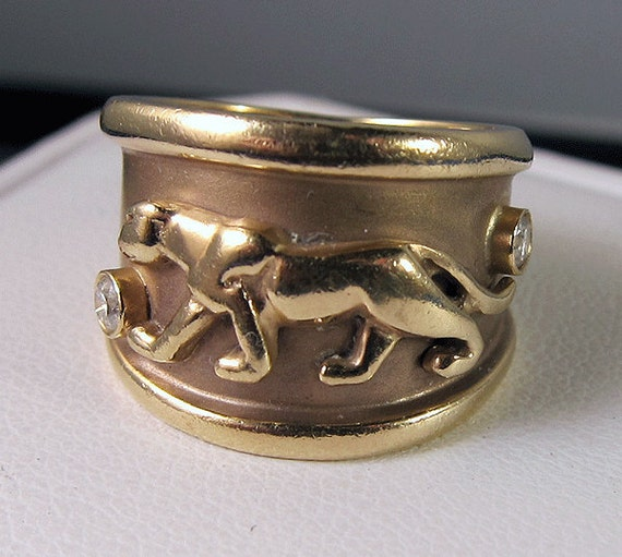 """Estate 14k """"Cartier"""" style Panther wide Band ring with Diamond accents"""