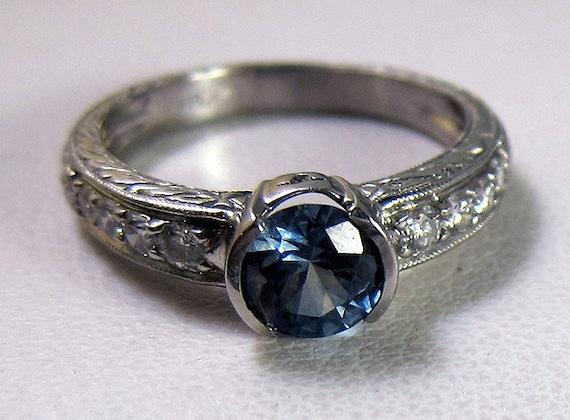Fabulous Vintage Platinum .95 ct. Montana Sapphire Diamond Ring